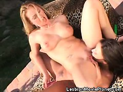 Sexy Lesbian Chicks Dildoing Each Others Pussies