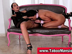 lesbo-on-a-leash-licks-hot-dominas-pussy-in-bdsm-action-in