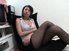 sexy-brunette-asian-shows-ass-upskirt-in-nylon-stockings