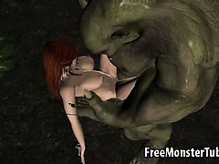 3d Redhead Elf Babe Getting Fucked Hard By A Monster
