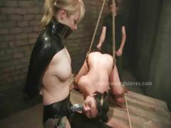 Amazing Busty Slut Suspended In The Air Brutalized And