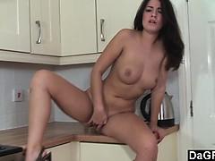 brunette-with-nice-boobs-masturbates-in-kitchen