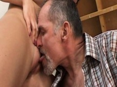 girl gets cunt licked and banged by an old man