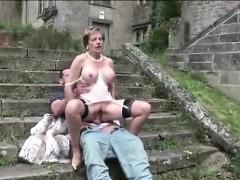 Skanky British Matron Fucks Outdoors