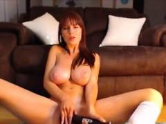 Natural big tits redhead live cumshow