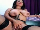Curvy brunette rides dildo showin her big ass
