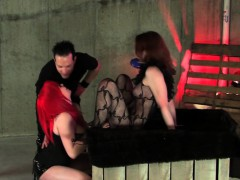 couple-tortured-brunette-sub-in-dungeon-bdsm-toy