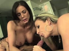 Kendra Lust and Sara Jay Double Team Large Cock