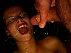 Extreme Facial For German Bukkake Slut From Group Of Dudes
