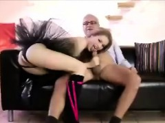 Young babe in tutu and stockings fucked by older Brit