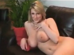 Busty Blonde Strips At Home After Working Pov