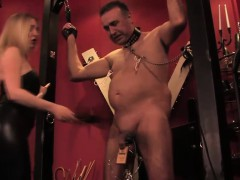 mistress-dominating-stupid-sub-with-clamps