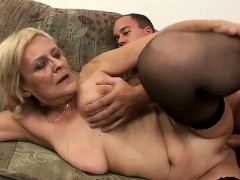 old mature granny gets spooned