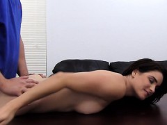 Busty Brunette Auditions On Casting Couch