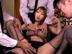 Japanese milf in fishnet stockings fucked before cum on tits