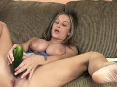 sexy cougar leeanna heart masturbates with a cucumber