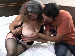 delivery boy nails with old granny with huge boobs