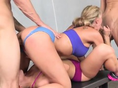 Blonde Whores Ride Their Lovers Inside The Gym