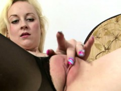 Deb rips her stockings to touch herself
