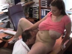 Huge melons bouncing in the office