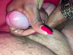 black mama taking care of a hard white dick