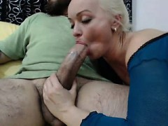 stunning blonde worships a large penis and then passionately