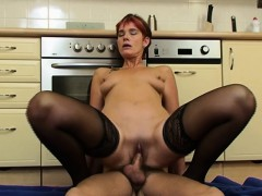 kinky mature in laced stockings kitchen anal fuck