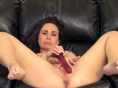 holly west sends her fingers and a red dildo pleasing her aching cunt