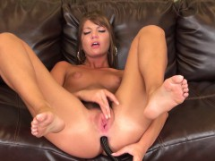 cute cassandra nix sticks a dildo in her butt and rubs her aching clit