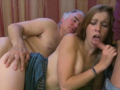 Young bombshell receives her pusys licked by an old cat