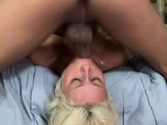 sweet slender blonde chick has a large penis deeply drilling her throat