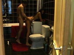 High Leggy Elegance In Toilet Home Made Fuck