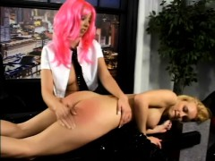 Dominatrix Kelly Wells Spans A Hot Blonde's Ass And Pussy In Bondage