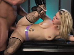 Lustful blonde in black boots gets her hungry ass nailed deep and hard