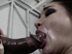 Throathed slave Gabi Paltrova cumswallows bbc