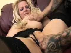 slutty huge tit blond dicked in lingerie