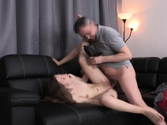 slim young nympho with small boobs has fun with a huge stick in casting