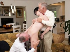 Young sexy brunette Rose Ballentine gets shared by two old men