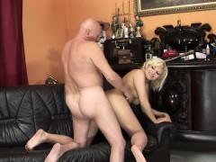 euro woman swallows old man sperm