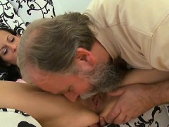 amazed girl playgirl gets her young hole drilled by old cock