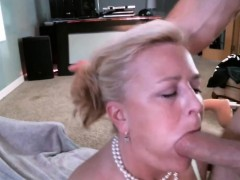 blonde milfy getting a mouthful of sperm