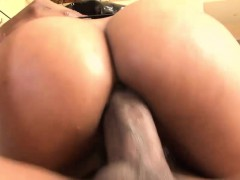 big titted ebony stunner rides on a huge black cock