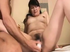 Busty Oriental Milf Has A Dildo And Cock Driving Her Pussy