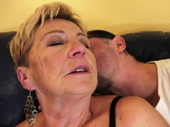 chubby mature penetrated on the couch