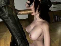 3d alien creature destroys sexy babe!