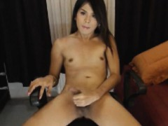 Asian Tranny Jerking Her Hard Cock