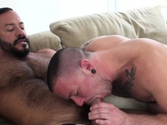 inked-bear-jerks-off-with-a-cock-in-his-mouth