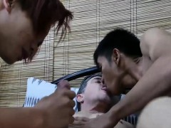Chubby Hairy Gay Guy Anally Drills Two Asian Tanned Twinks