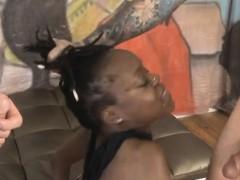 Balck Ghetto Trash Destinee Jackson Gagging On Cock
