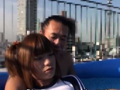 subtitled-japanese-crossdresser-kaoru-oshima-rooftop-handjob